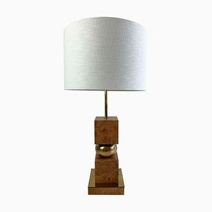 Vintage Burl Wood and Brass Table Lamp
