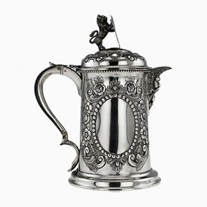 Large 19th Century Victorian English Solid Silver Flagon from Charles Boyton II, 1890s