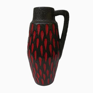 Black and Red Ceramic Fat Lava Vase from Scheurich, 1960s
