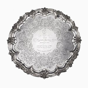 Großes viktorianisches versilbertes englisches Tablett aus Silber von JE Terrey & Co, 1840er