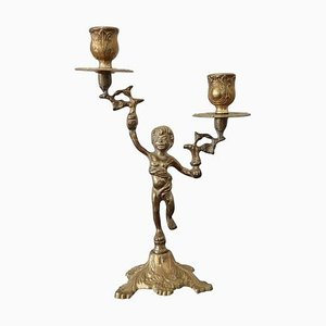 Antique Gilded Bronze Candleholder, 1880s