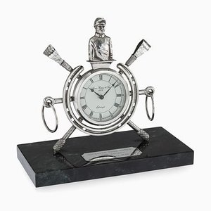 Solid Silver Horse Racing Clock, Edinburgh, 1983