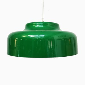 Italian Green Perspex and Chromed Steel Ceiling Lamp, 1970s