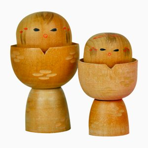 Couple Kokeshi by Shozan, 1960s, Set of 2