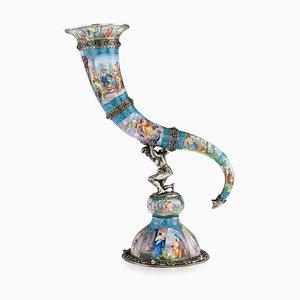 Antikes österreichisches Set aus massivem Silber und emailliertem Horn