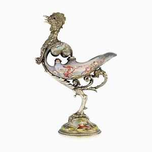 Antiker Österreichischer Silber & Vergoldeter Hahn von Ludwig Politzer, 1890er
