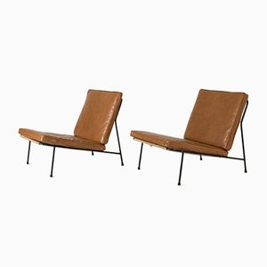 Leather Lounge Chairs by Alf Svensson for Bergboms, 1950s, Set of 2