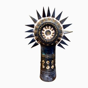 Black Ceramic Sun Table Lamp by Georges Pelletier