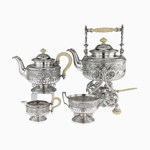 Antique Austrian Empire Solid Silver Tea Service by Joseph Carl Klinkosch, 1880s, Set of 4