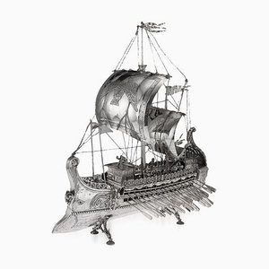 Spanish Solid SIlver Middle East Trireme Ship, 1920s