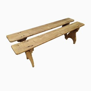 Antique Farm Benches, Set of 2
