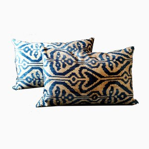 Uzbekistan Handmade Ikat Silk Cushions, 1990s, Set of 2