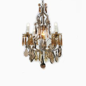 Crystal Clear and Amber 5-Light Chandelier, 1950s