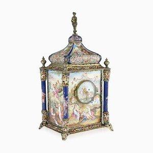 Antique Austrian Silver Gilt & Enamel Mantel Clock by Rudolf Linke, 1890s