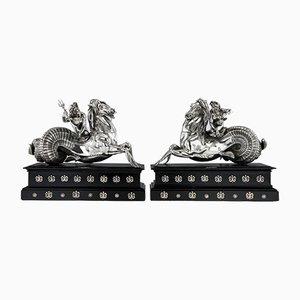 Italienische Statuen aus Poseidon aus massivem Silber & von Amphitrite Vincenzo Contini, Rom, 1800er, 2er Set