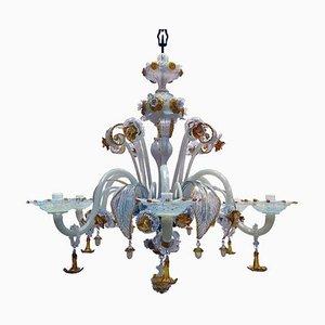 Antique Opalescent Murano Glass Chandelier