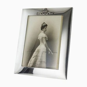 Large Antique Italian Royal Solid Silver Photo Frame, 1900s