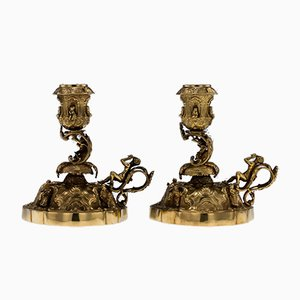 Antique Continental Solid Silver Gilt Figural Candleholders, 1910s, Set of 2