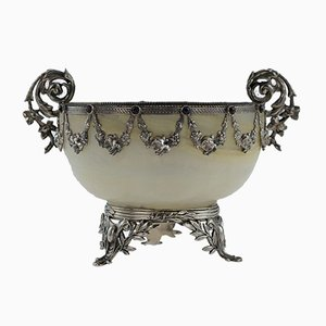 Antique Austrian Solid Silver & Gem Agate Bowl, 1880s