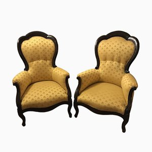 Vintage Louis Philippe Style Walnut Lounge Chairs, Set of 2
