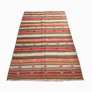 Vintage Turkish Striped Woolen Carpet, 1940s