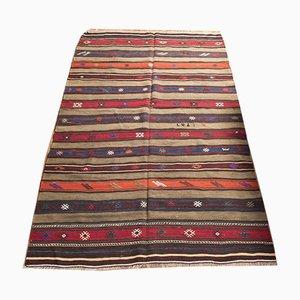 Gestreifter türkischer Vintage Wollteppich, 1960er