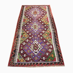 Vintage Turkish Multicolor Woolen Denizli Kilim Rug, 1950s