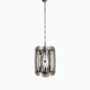 Perspex Chrome and Plated Metal Ceiling Lamp, 1970s