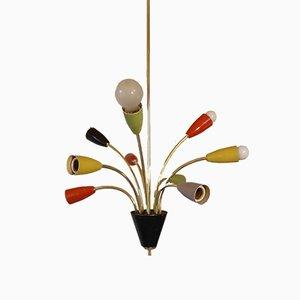 Lámpara de araña Spider italiana de Stilnovo, años 50