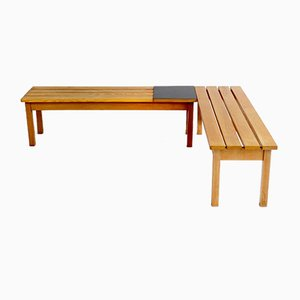 French Slatted Benches, 1960s, Set of 2