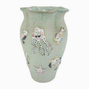 Große Italienische Marine Keramik Vase als Schirmständer, 1960er