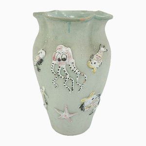 Large Italian Marine Ceramic Vase Suitable as Umbrella Stand, 1960s