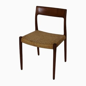 Vintage Teak and Paper Cord Model 77 Dining Chairs by Niels Otto Møller for J.L. Møllers, Set of 3