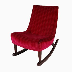 Red Velvet and Wooden Rocking Chair, 1950s
