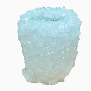 Weiße Kristallvase von Isaac Monté