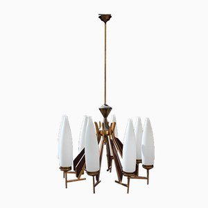 Large Wooden Murano Glass and Brass Chandelier from Esperia, 1950s