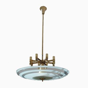 Italian Brass and Frosted Glass Round Chandelier, 1950s