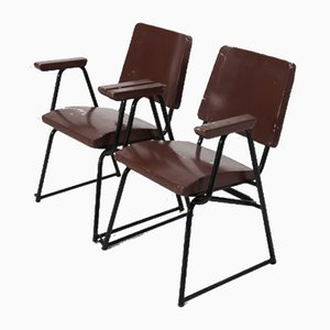 Lacquered Wood and Iron Rod Living Room Set by BBPR for Michelin Sport Club, D.A.M.I., 1930s, Set of 12