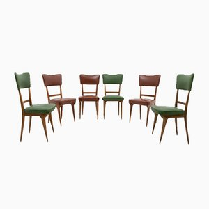 Italian Walnut and Leather Dining Chairs, 1950s, Set of 6