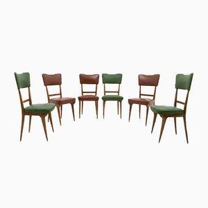 Italienische Nussholz & Leder Esszimmerstühle, 1950er, 6er Set