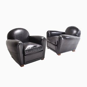 Black Leather Club Chairs, 1980s, Set of 2