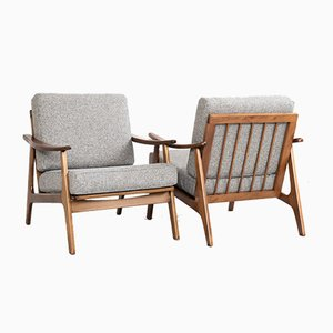Mid-Century Danish Beech and Gray Fabric Easy Chairs, 1960s, Set of 2
