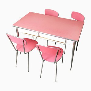 Mid-Century Pink Formica and Steel Tubular Structure Kitchen, 1950s
