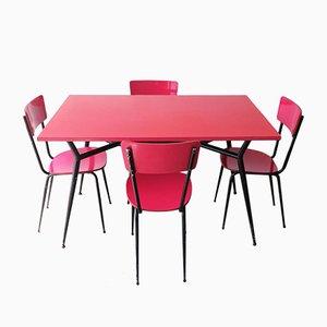 Mid-Century Italian Fuchsia Formica and Tubular Black Metal Dining Table & Chairs Set, 1950s, Set of 6