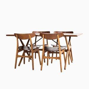 Set de Salle à Manger et Chaises Mid-Century en Teck & Chêne par Hans J. Wegner pour Andreas Tuck, Danemark, 1950s, Set de 5