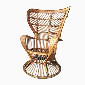 Mid-Century Italian Bamboo and Rattan Conte Biancamano Lounge Chair by Lio Carminati and Gio Ponti, 1950s
