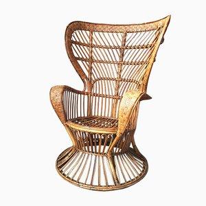 Mid-Century Italian Bamboo and Rattan Conte Biancamano Lounge Chair by Lio Carminati and Gio Ponti, 1950s