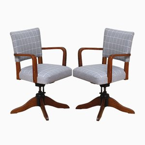 Mid-Century Danish Oak Revolving Armchairs, Set of 2