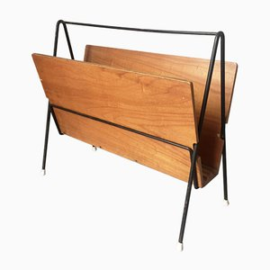 Mid-Century Blond Wood and Black Iron Magazine Rack, 1950s