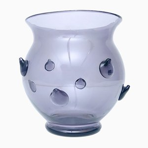 Italian Gray Lilac Blown Murano Glass Vase, 1980s
